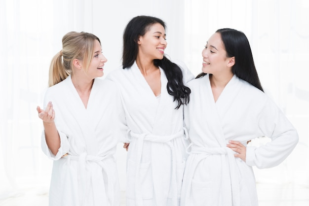 Friends speaking in a spa