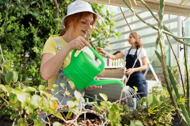 Amici che si prendono cura delle loro piante in una serra