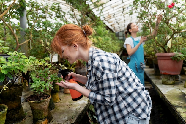 Friends taking care of their plants in a greenhouse