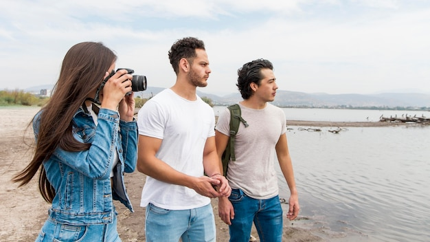 Friends taking photos of nature