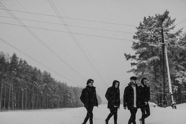 Друзья гуляют в заснеженном лесу