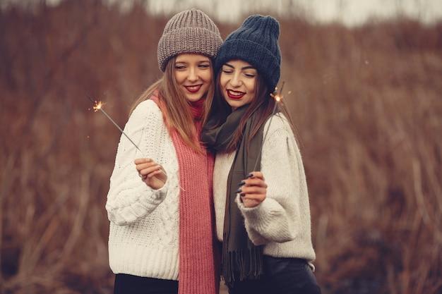 Amici in un parco d'inverno. ragazze con cappelli lavorati a maglia. donne con stelle filanti.