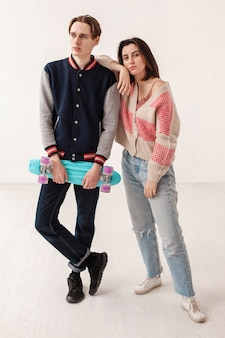 Friends with skateboard