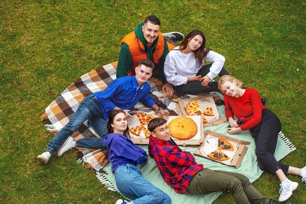 友達の若い面白い美しいピザを楽しんだり、自然の中でピクニックで一緒に交流したりする