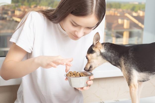 애완 동물과 우정 개념입니다. 집에서 옷을 입은 어린 소녀가 작은 개에게 음식을 주고 그릇을 들여다본다