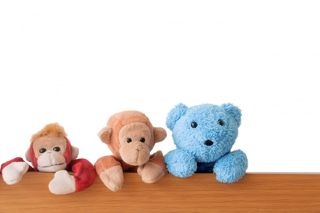 Friendship -the gang of teddy bears and monkeys are catching on the wood