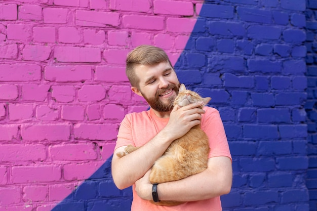 Friendship between man and cat on wall of colourful wall outdoor