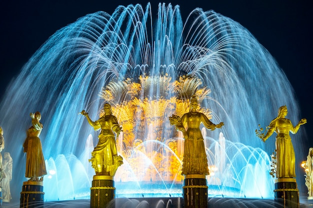 The friendship of nations fountain at vdnkh inmoscow