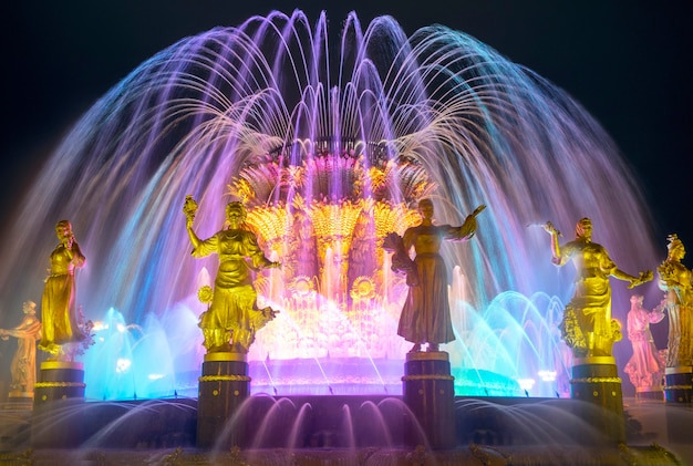 The friendship of nations fountain at vdnkh in moscow