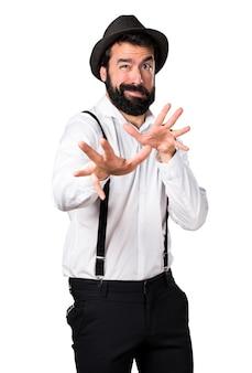 Uomo pazzo di hipster con la barba