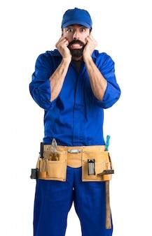 Frightened plumber