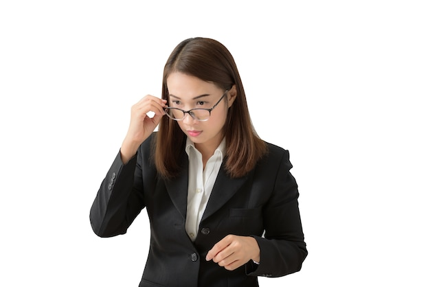 Frightened and stressed young business woman