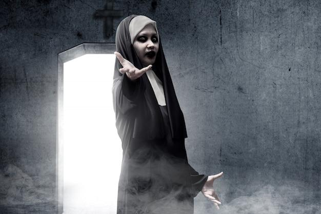 Frightening devil nun haunted the darkroom