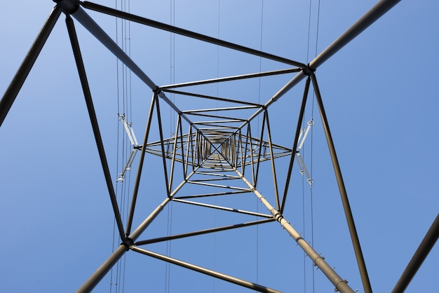 Frog's eye view of an electrical pole against a clear blue sky