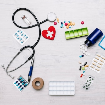 From above border from stethoscope and medications