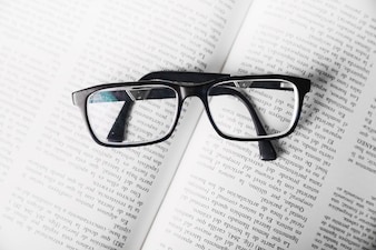 From above glasses on book