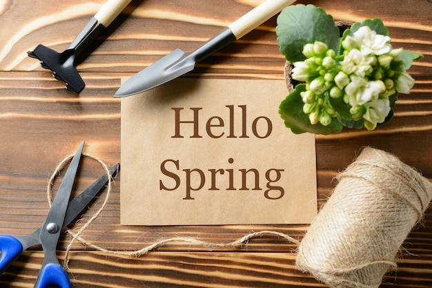 From above hello spring words and different instruments for gardening on the wooden table