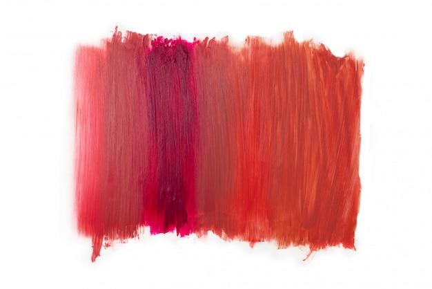 От светлой до насыщенной цветовой текстуры помады. изолированные на белом.