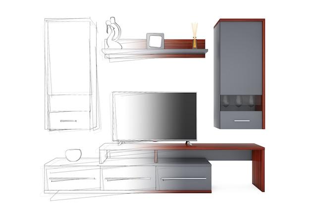 От идеи рисования эскизов до современной стены в гостиной на белом фоне. 3d-рендеринг.