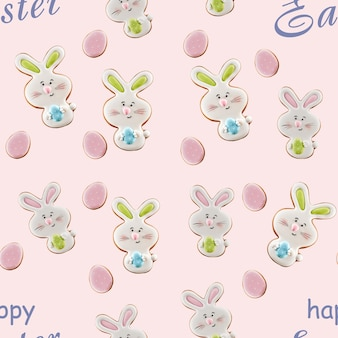 From above view of colorful ginger glazed cookies isolated on light pink background with gray words. close up of homemade lovely delicious pastry in shape of easter bunnies and eggs.