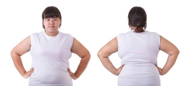 脂肪のアジアの女性の前後の肖像画 Premium写真