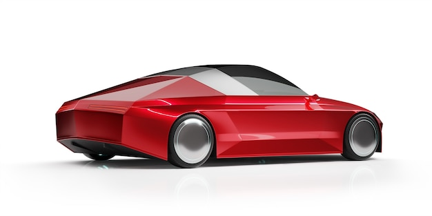 Front angle view of a generic red brandless ev car isolated on white background. 3d rendering with my own creative design.