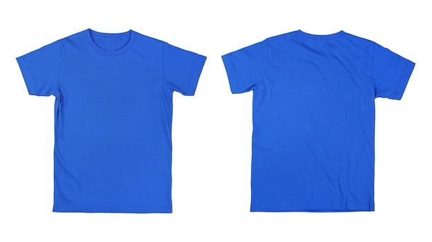 Front and back blue tshirt on white background