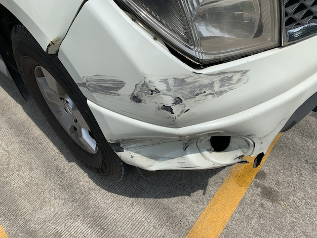 Front bumper damaged by a car accident.