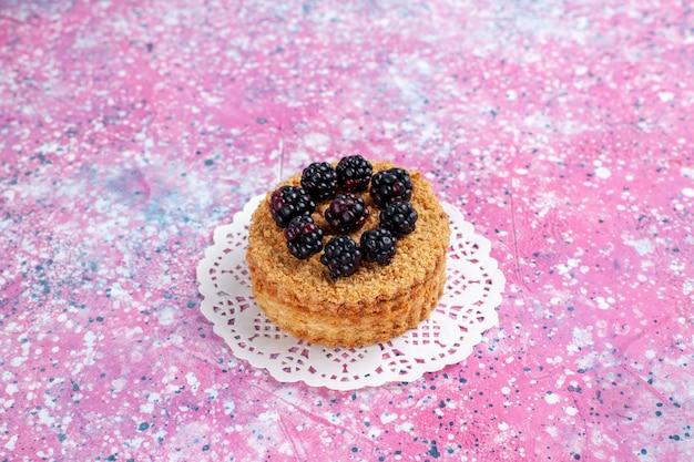 전면 닫기보기 블랙 베리 케이크 밝은 분홍색 배경에 약간 과일 케이크.