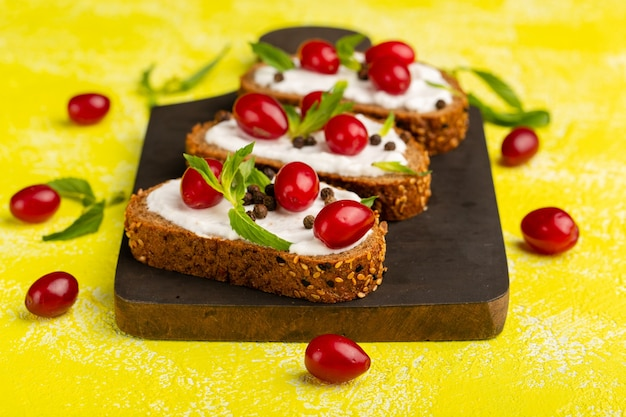 Front close view bread toasts with sour cream and dogwoods on yellow