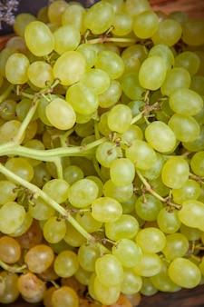Front close view fresh mellow grapes on dark surface wine fresh grape fruit tree plant ripe
