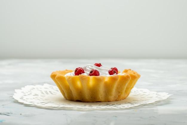 フロントクローズビュー光の表面甘いお茶に分離されたクリームと赤いクランベリーと少しおいしいケーキ