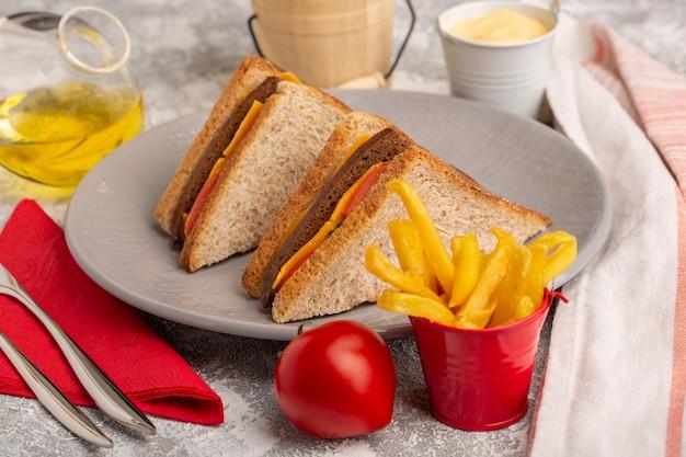 フロントクローズビューおいしいトーストサンドイッチプレート内のチーズハムとフライドポテトサワークリームと白い表面の油