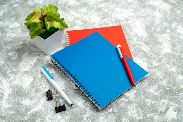 Vista frontale ravvicinata di due quaderni chiusi colorati con penna e vaso di fiori su sfondo grigio