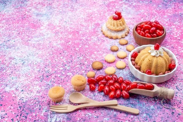 明るい光の机の上にクリームと新鮮なピーナッツの赤いハナミズキと正面の拡大図おいしいプレーンケーキ
