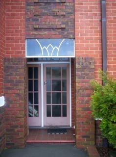 Front door, brick