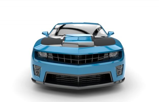 青いスポーツカーの正面