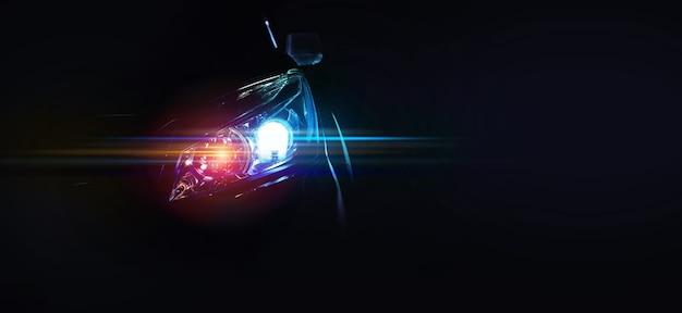 Перед роскошным спортивным автомобилем с вашим пространством, электромобилем или электромобилем