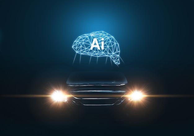 Фронт роскошного суперкара с управлением искусственным интеллектом. автомобиль будущего