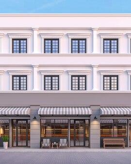 古典的なスタイルの商業ビルの正面灰色と白の色で3dレンダリング