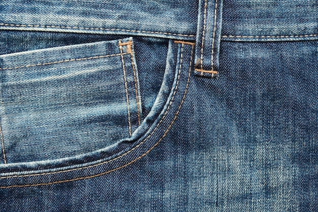 Front pocket of classic jeans