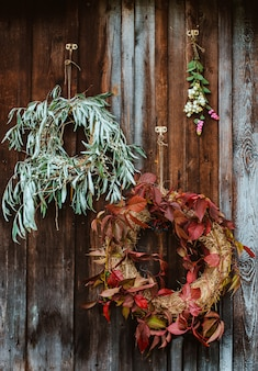 Front porch with autumn wreaths