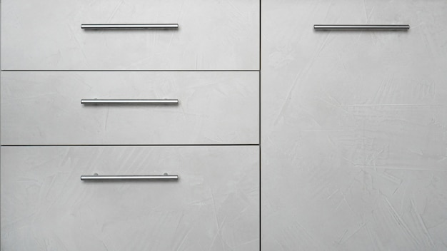 Front side of kitchen cabinet with drawers - modern grey interior