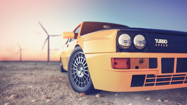 Front of the sport car scene behind the sun going down with wind turbines3d render and illustration