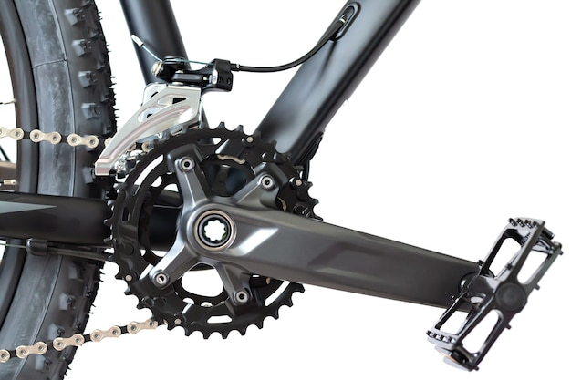 Front sprocket, chain, wheel tire and pedal of modern mountain bike
