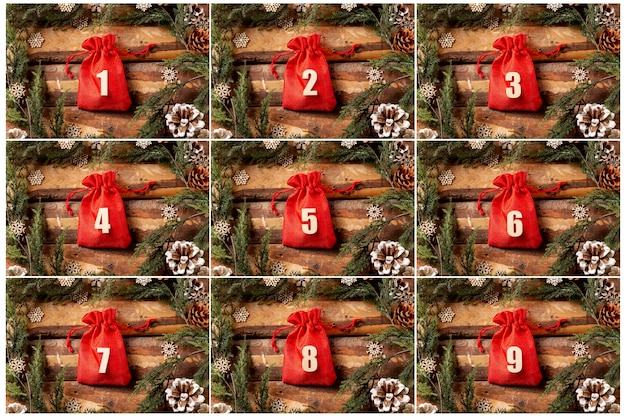 Front view advent calendar with numbers on
