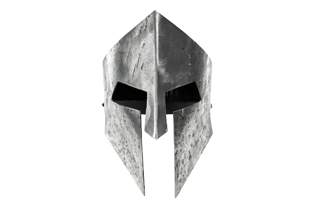 Front view of ancient iron spartan helmet isolated