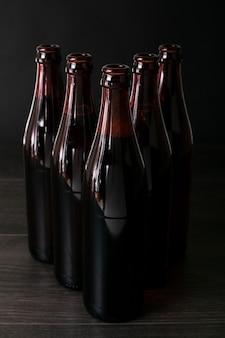 Front view arranged beer bottles
