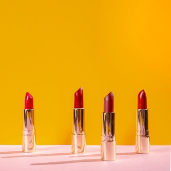 Front view arrangement of different lipsticks