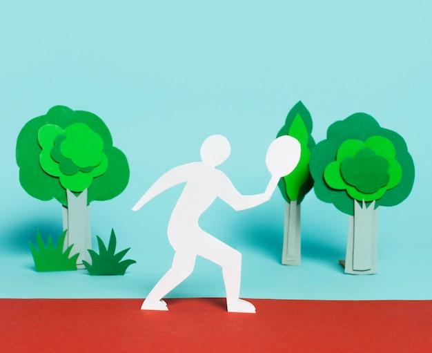 Вид спереди расположения олимпийских фигур в бумажном стиле